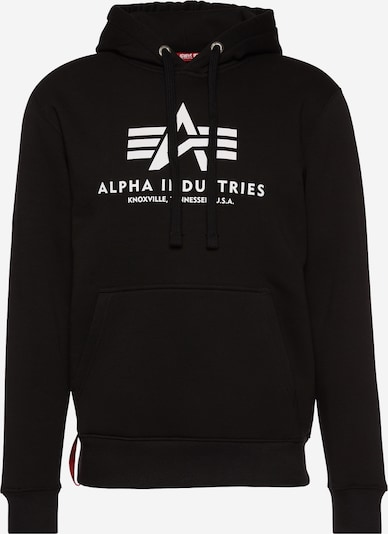 ALPHA INDUSTRIES Sweatshirt 'Basic Hoody' in de kleur Zwart / Wit, Productweergave