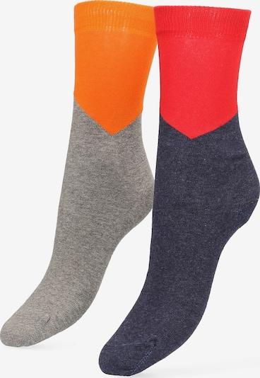 Libertad Socke in blaumeliert / grau / dunkelorange / rot, Produktansicht