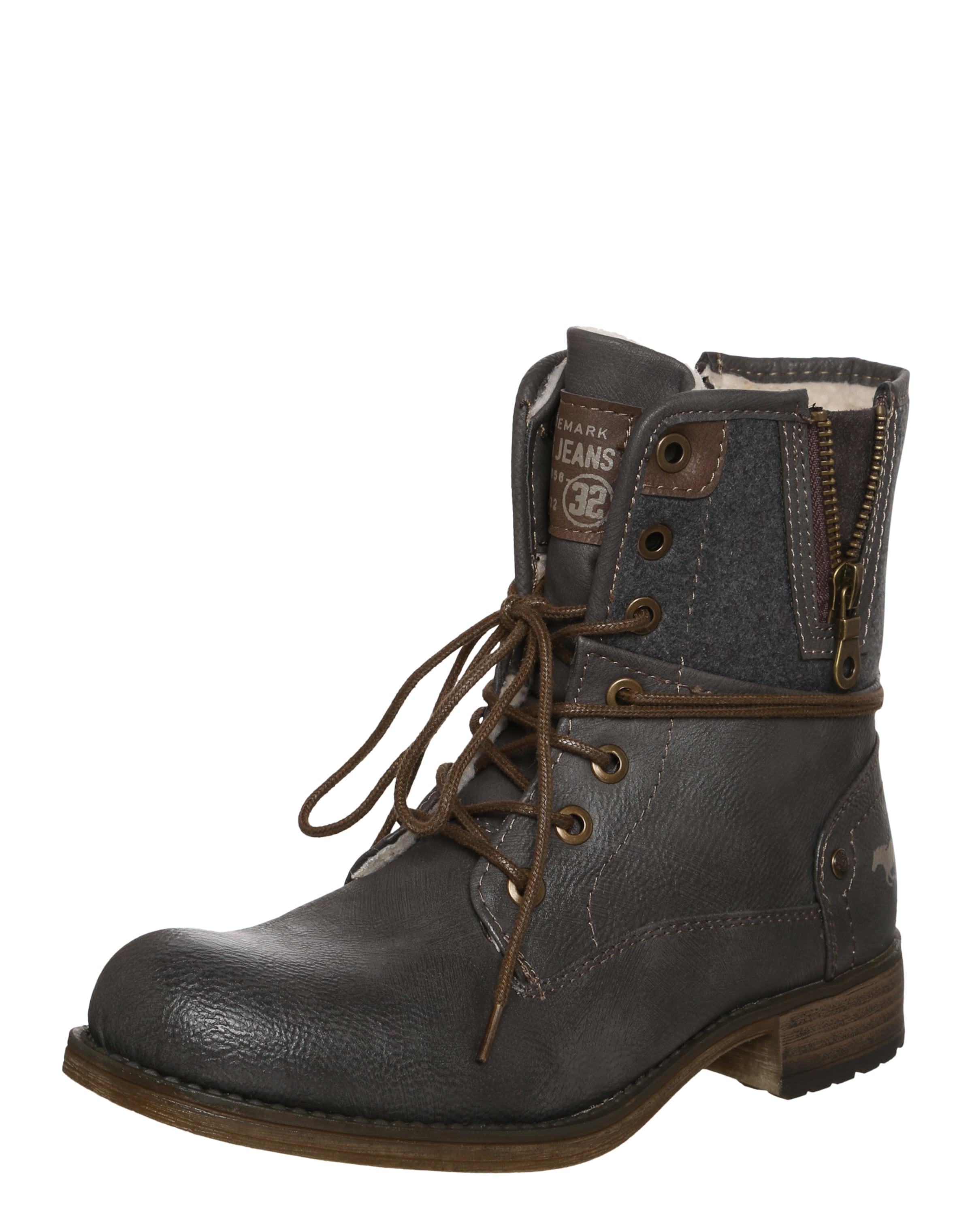 MUSTANG Schnürstiefelette mit Felleinsatz Verschleißfeste billige Schuhe
