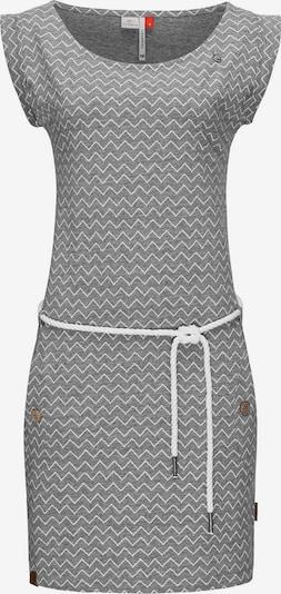 Ragwear Kleid 'Tag Zig Zag' in graumeliert / weiß, Produktansicht