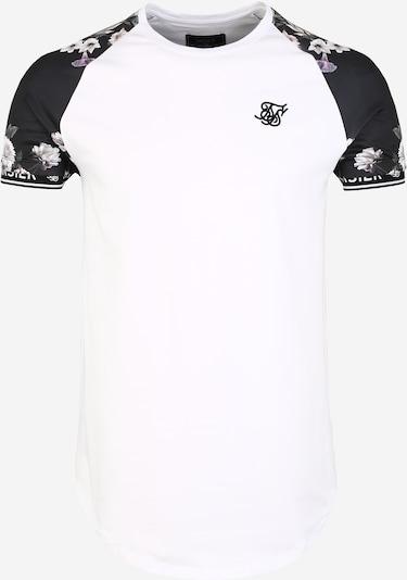 SikSilk Shirt 'siksilk s/s prestige floral inset tech tee' in schwarz / weiß, Produktansicht