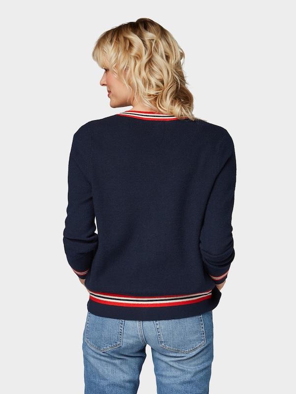 En Feu Tom Blanc Tailor Naturel Cardigan Bleu MarineRouge Denim 3uT1JlFcK