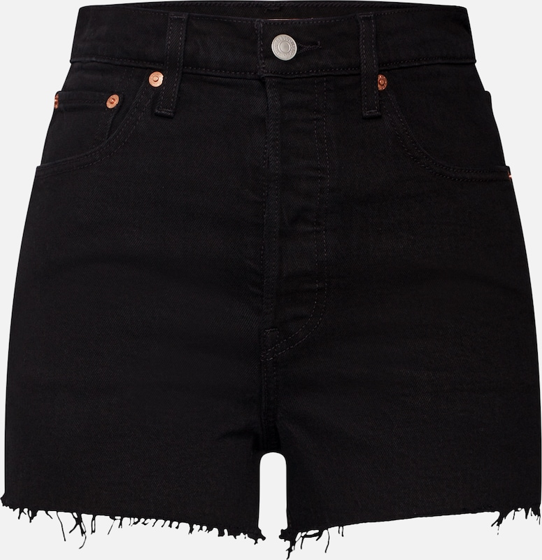 LEVI'S Shorts 'RIBCAGE' in black denim, Produktansicht
