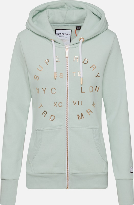 Superdry Sweatjacken 'NYC STUDIO' in mint, Produktansicht
