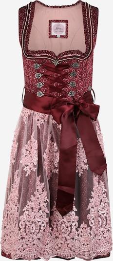 MARJO Dirndl 'Magret' u pastelno roza / tamno crvena / bijela, Pregled proizvoda