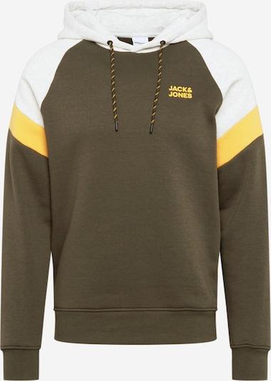 JACK & JONES Sweatshirt in gelb / dunkelgrün / weiß, Produktansicht