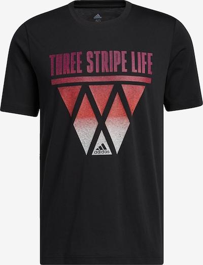 ADIDAS PERFORMANCE T-Shirt '3-Streifen Hoops' in hellrot / schwarz / weiß, Produktansicht