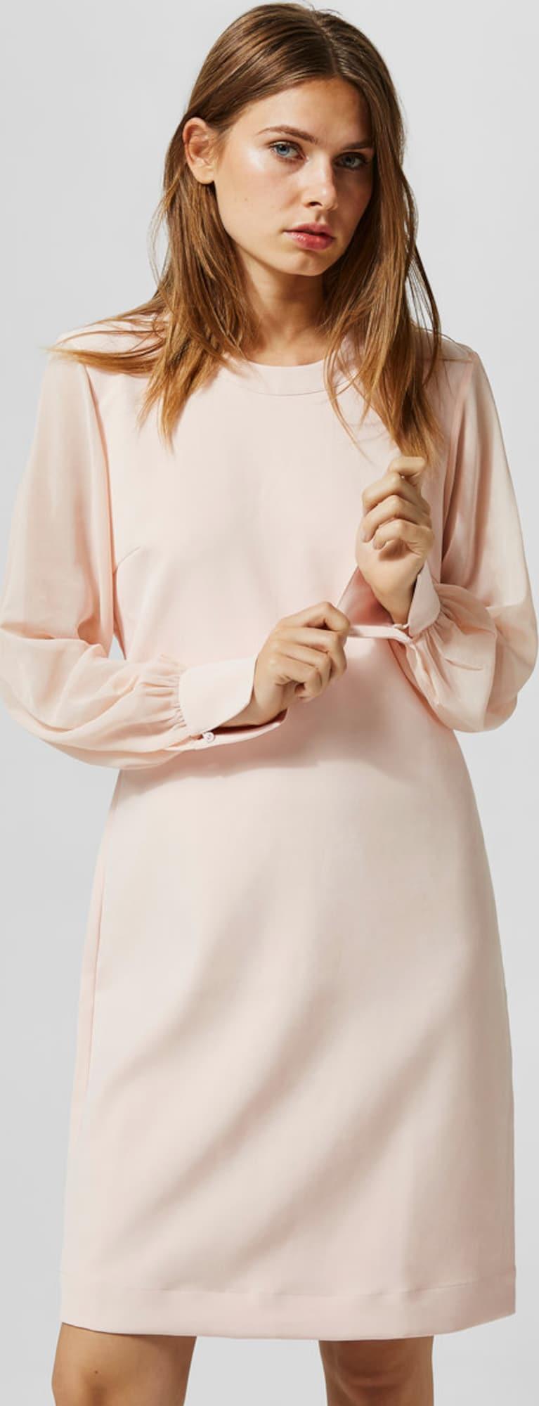 selected femme kleid mit langen rmeln in pink about you. Black Bedroom Furniture Sets. Home Design Ideas