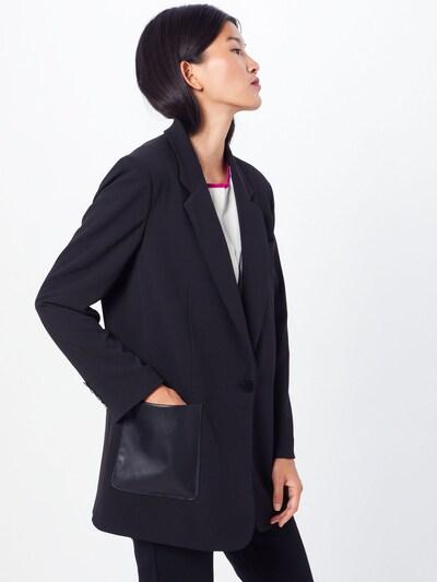 DKNY Jacke' ONE BTN JKT W/ LEATH' in schwarz, Modelansicht