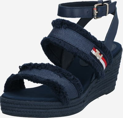 TOMMY HILFIGER Sandaal 'TOMMY FRINGES MID WEDGE SANDAL' in de kleur Donkerblauw, Productweergave
