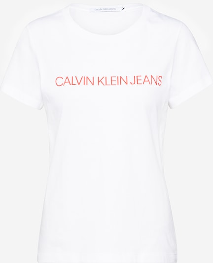 Calvin Klein Shirt 'INSTITUTIONAL LOGO SLIM FIT TEE' in rot / weiß, Produktansicht