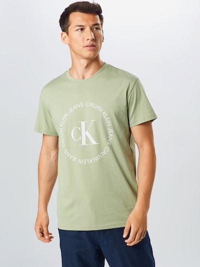 Calvin Klein Jeans Shirt in de kleur Lichtgroen / Wit: Vooraanzicht