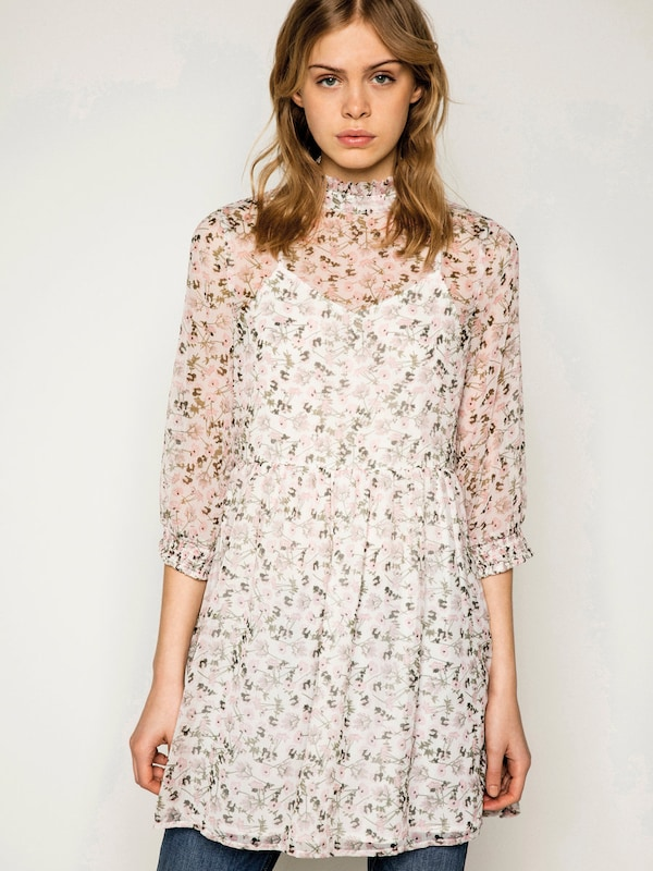 Pieces Long-sleeved Dress With Flowers