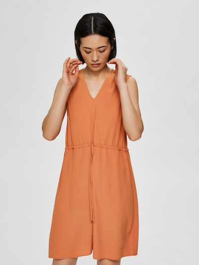 SELECTED FEMME V-Ausschnitt Minikleid in orange: Frontalansicht