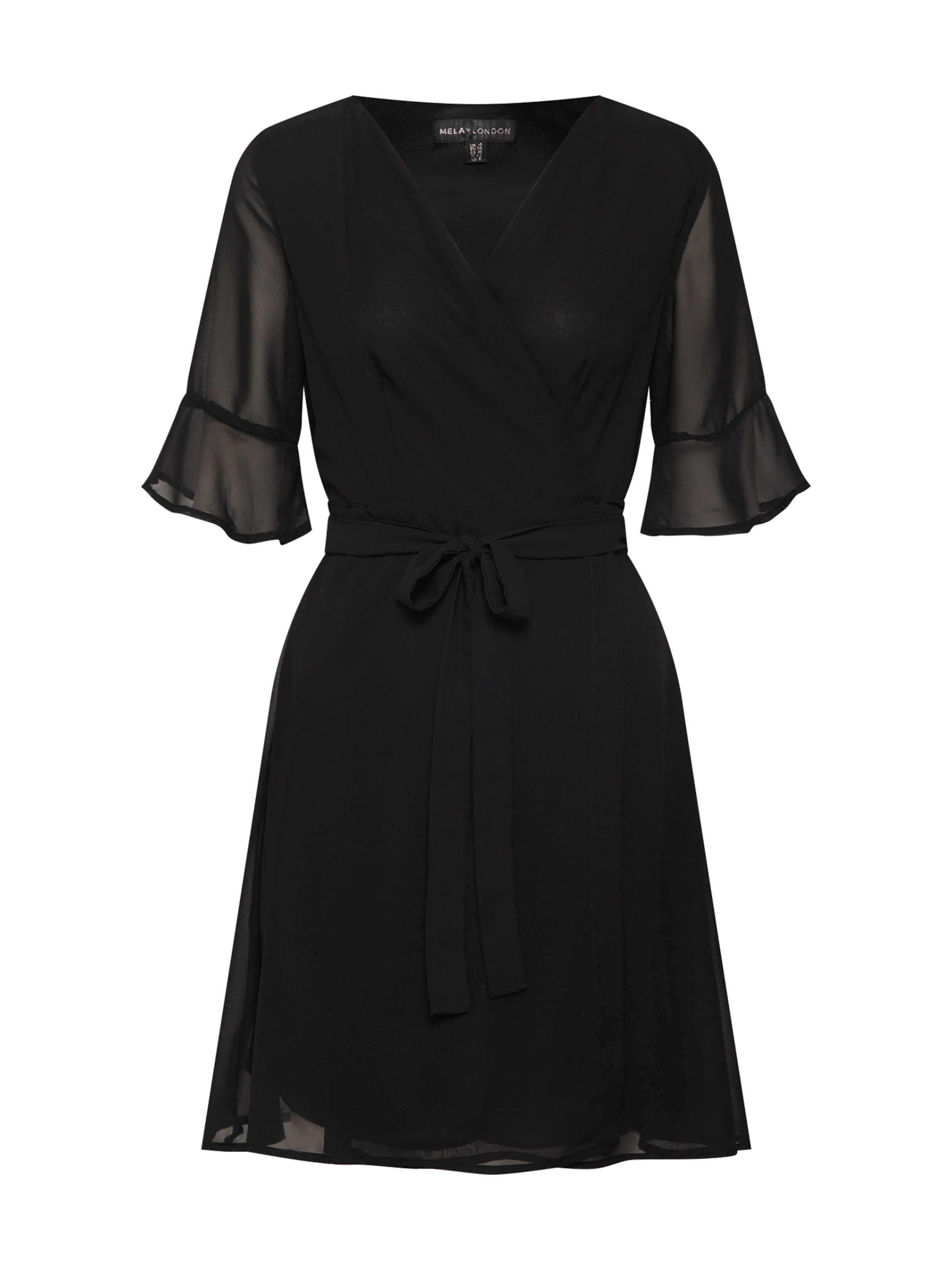 Dress' In Wrap Mela 'sheer Schwarz Kleid Sleeve London MSGUpzqV