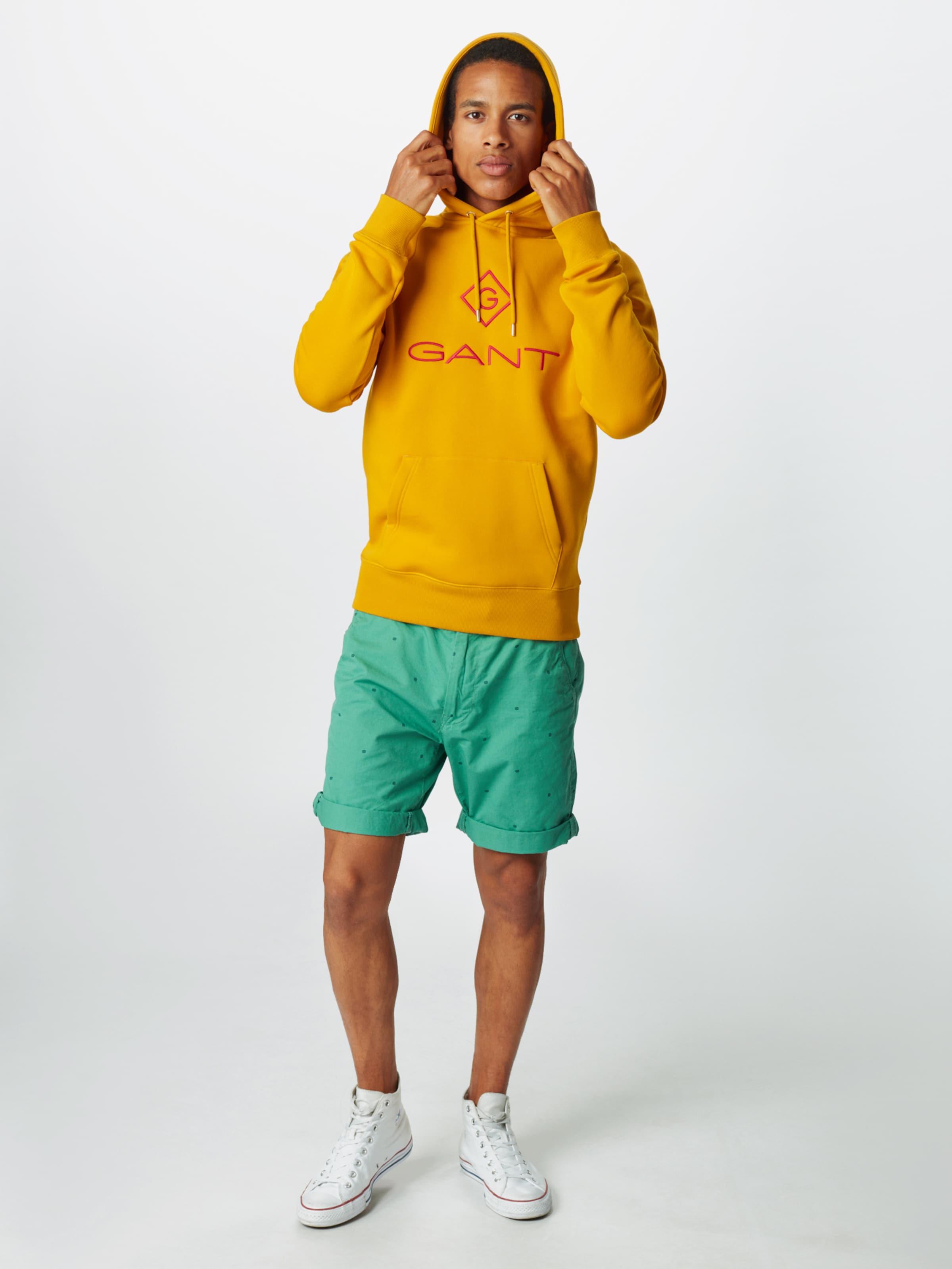 GANT Sweatshirt 'LOCK UP' i guldgul / röd