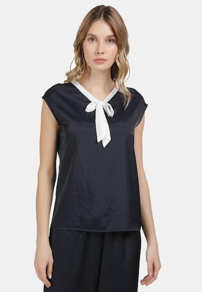 DREIMASTER Bluse in marine / weiß, Modelansicht