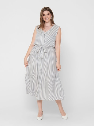 ONLY Carmakoma Kleid in grau / weiß, Modelansicht