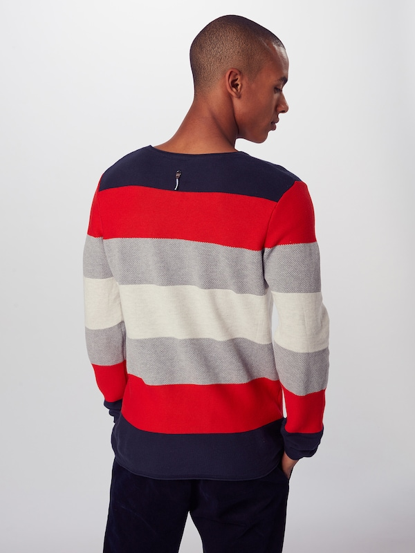 Hailys Men Pullover 'Sweater Finn' in navy / rot: Rückansicht