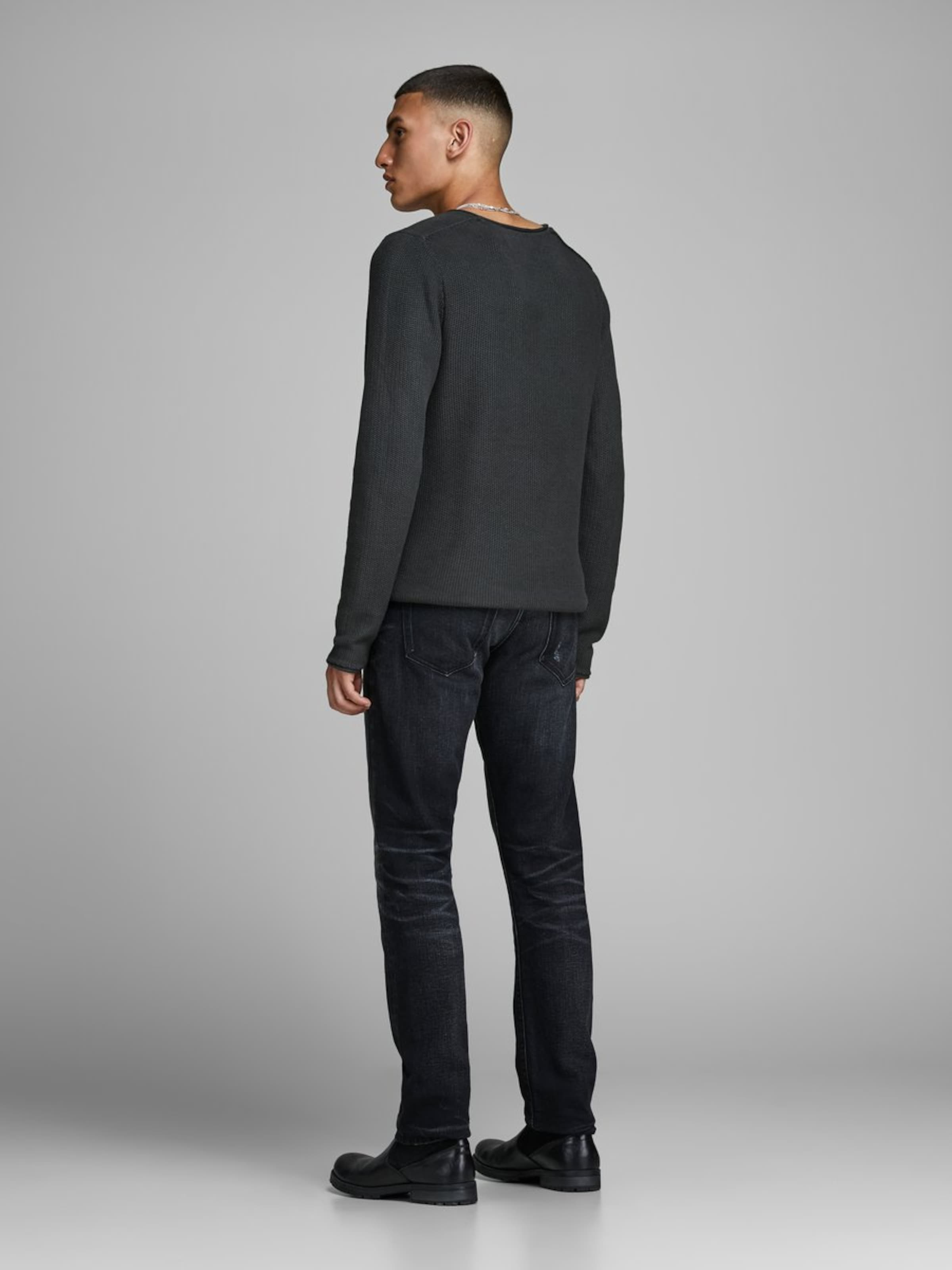 Crew Anthrazit Jackamp; Neck Knit Jones Strickpullover In Turn hCrxBsdtQ