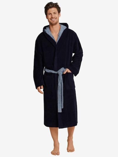 SCHIESSER Badjas lang  in de kleur Nachtblauw / Lichtblauw, Modelweergave