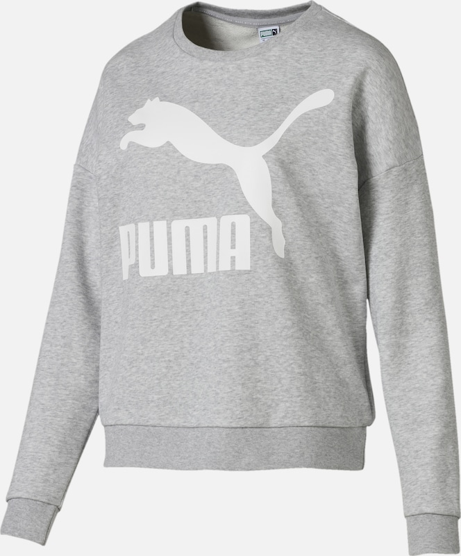 PUMA Sweatshirt in in in graumeliert   weiß  Freizeit, schlank, schlank 4dfba5