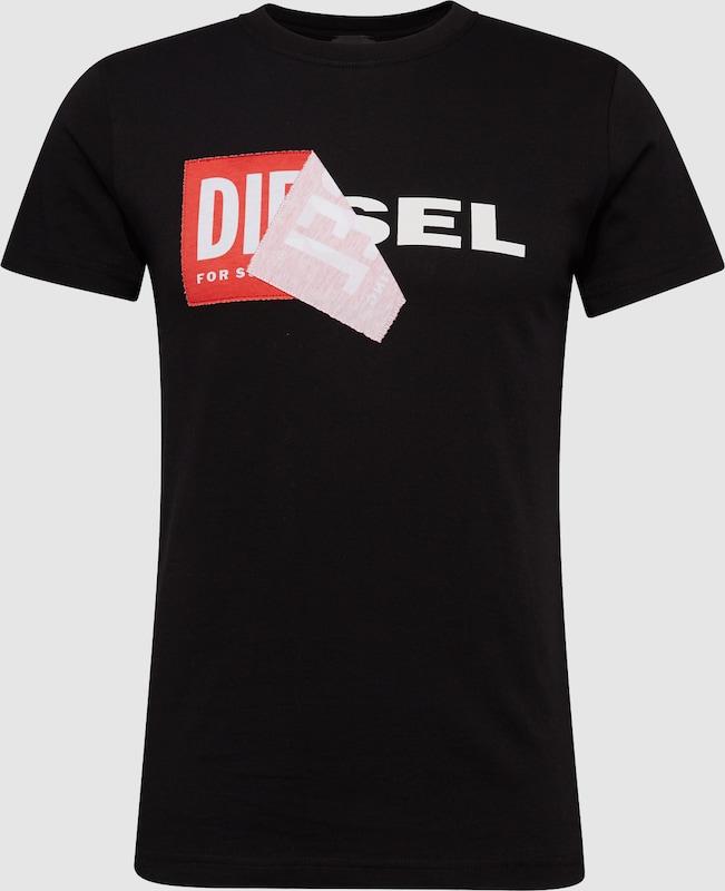 45f71fcd9c8e82 DIESEL T-Shirt 'T-DIEGO-QA' in rot / schwarz / weiß | ABOUT YOU