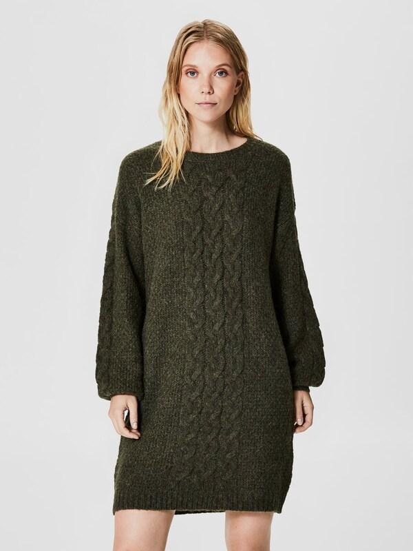selected femme wollmix kleid mit langen rmeln in gr n. Black Bedroom Furniture Sets. Home Design Ideas