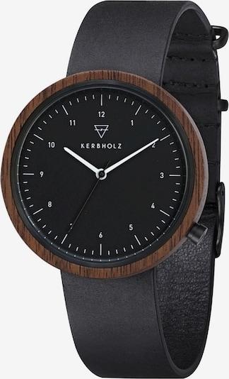 Kerbholz Armbanduhr 'Heinrich' in dunkelbraun / schwarz, Produktansicht