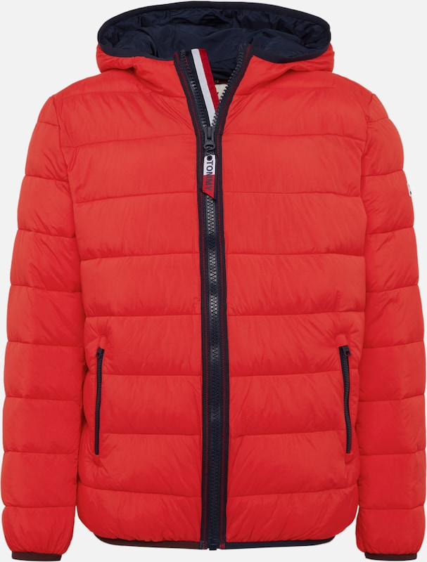 Tommy Jeans Winterjas 'TJM ESSENTIAL PADDED HOOD JACKET' in de kleur Rood, Productweergave