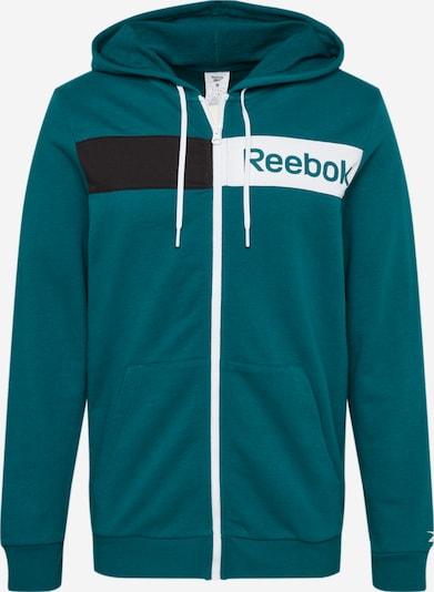 Bluză cu fermoar sport REEBOK pe turcoaz / negru / alb, Vizualizare produs