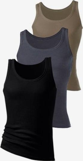 H.I.S Doppelripp-Tanktops (3 Stck.) in dunkelbeige / dunkelgrau / schwarz, Produktansicht