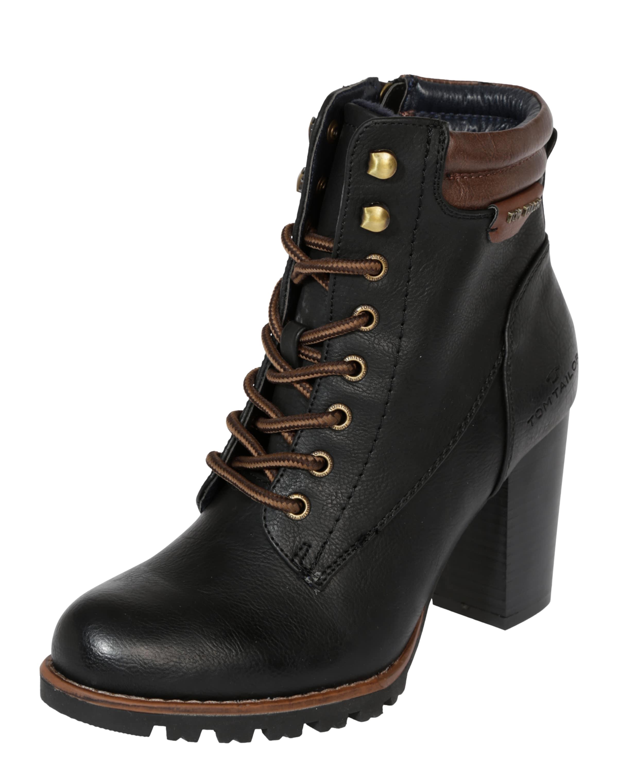 TOM TAILOR | Schnürstiefelette mit Blockabsatz Schuhe Gut getragene Schuhe
