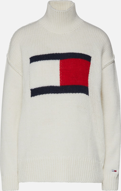 Pulover 'Tommy Flag Sweater' Tommy Jeans pe offwhite, Vizualizare produs