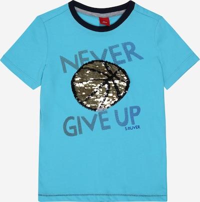 s.Oliver T-Shirt in taubenblau / hellblau / braun / schwarz, Produktansicht