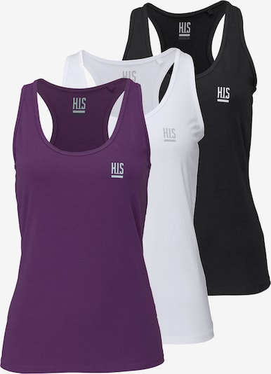 H.I.S Tanktop (Packung, 3 Stück) in dunkellila / schwarz / weiß, Produktansicht
