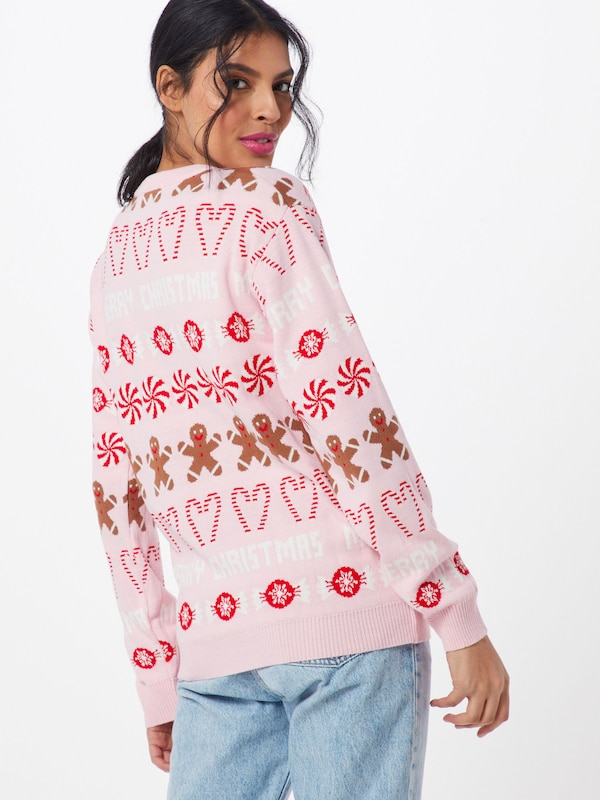 Missguided Pullover 'Christmas Gingerbread Man Jumper' in rosa: Rückansicht