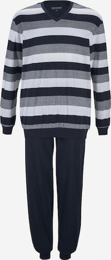 SCHIESSER Pikk pidžaama tumesinine / hall / valge, Tootevaade