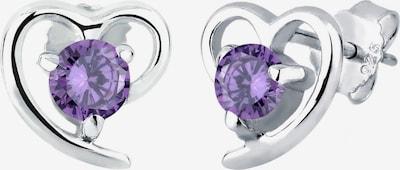 ELLI Ohrringe 'Herz' in lila / silber, Produktansicht