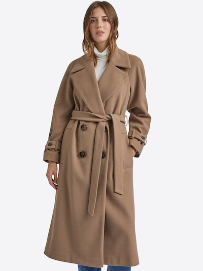 bézs Dorothy Perkins Átmeneti kabátok 'GREEN DOUBLE BREASTED BELTED WRAP COAT', Modell nézet