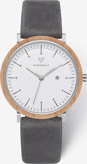 Kerbholz Uhr in braun / graphit / silber / weiß, Produktansicht