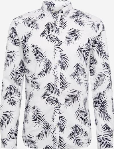 JACK & JONES Overhemd 'JPRBLASUMMER LEAF SHIRT L/S S20' in de kleur Zwart / Wit, Productweergave