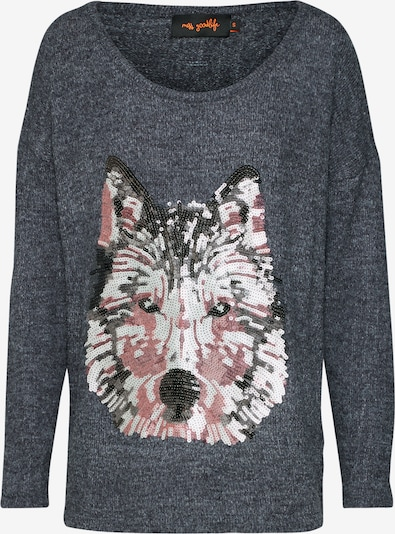 miss goodlife Pullover 'Wolf Head' in dunkelgrau, Produktansicht