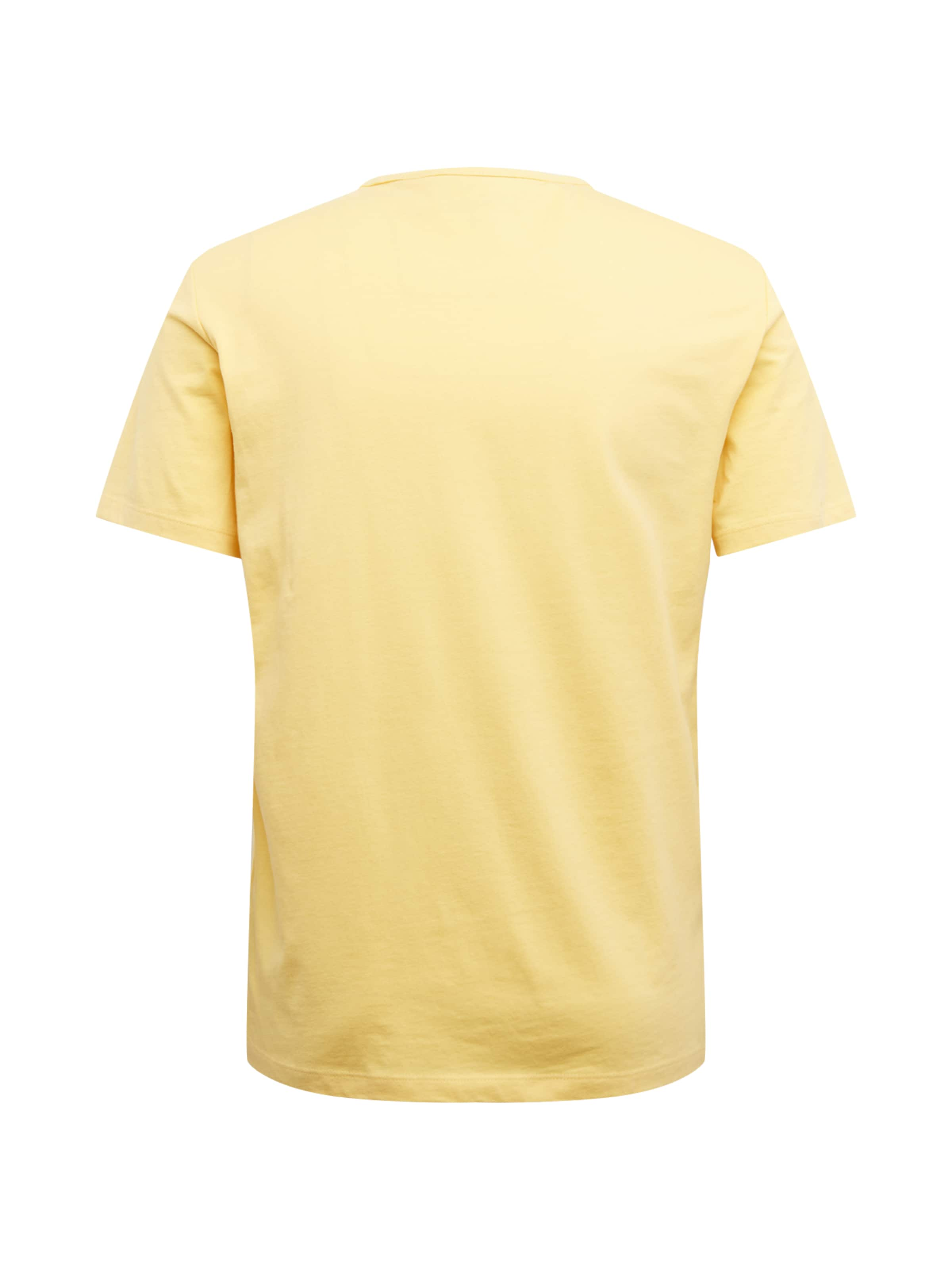 s.Oliver T-Shirt in hellblau / dunkelblau / gelb / weiß Mottoprint 13.004.32.4963.13A1.S