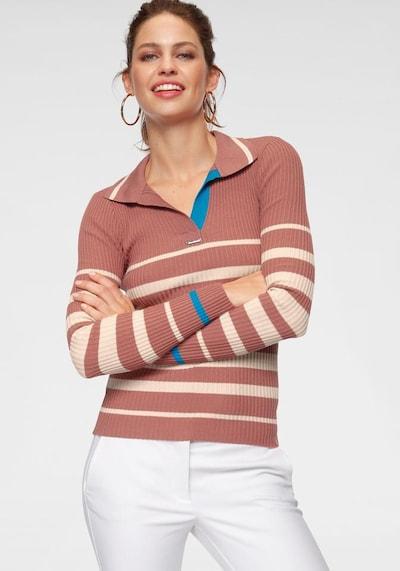 BRUNO BANANI Pullover in neonblau / pastellrot / naturweiß, Modelansicht
