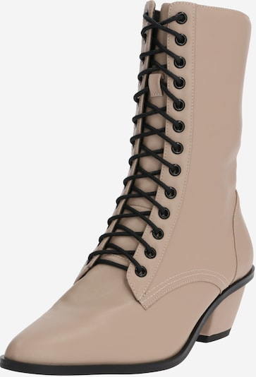NA-KD Stiefelette 'pointy lace up' in nude, Produktansicht
