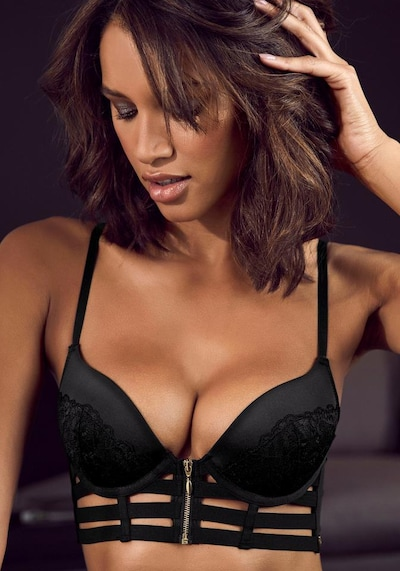 JETTE Push Up Bustier in schwarz, Modelansicht