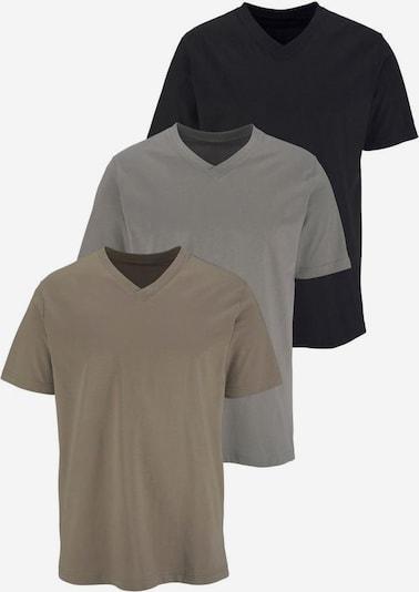 Maier Sports T-Shirt mit V-Ausschnitt (3 Stck.) in schlammfarben / schwarz: Frontalansicht