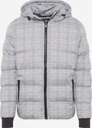 Urban Classics Winterjas 'Hooded Check Puffer Jacket' in de kleur Zwart / Wit, Productweergave