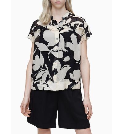 Calvin Klein Bluse 'Georgette' in creme / mischfarben / schwarz / weiß, Modelansicht
